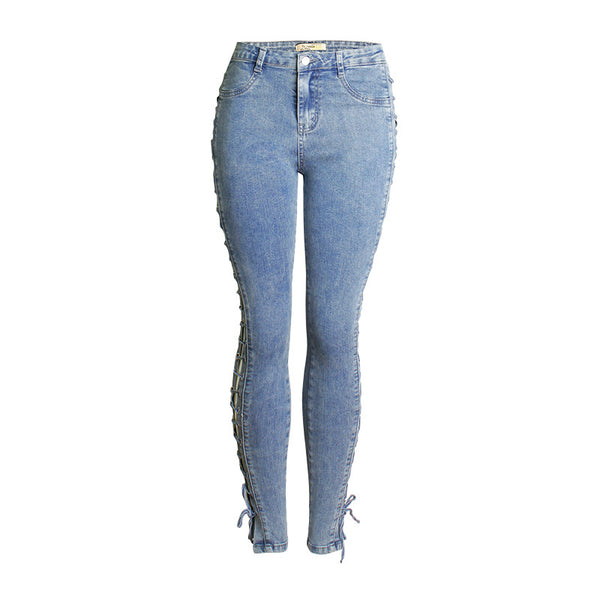 Cross over lacing openwork skinny jeans