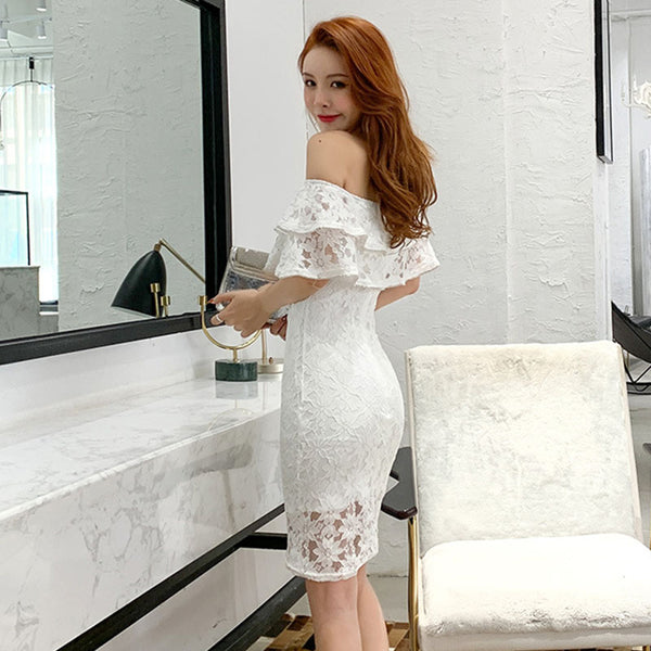Off-the-shoulder lace overlay bodycon dresses