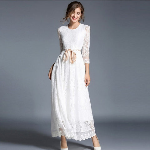 Lace openwork long maxi dresses - Fancyever