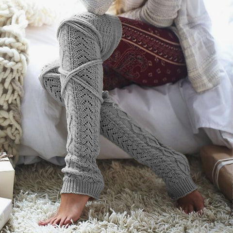 Cable knit above knee leg sleeves