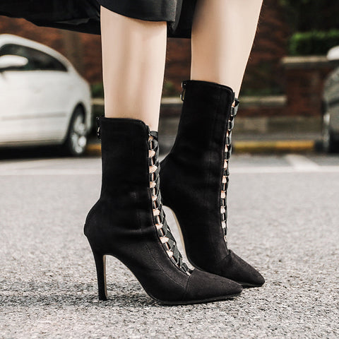 Pointed toe drawstring high heel boots