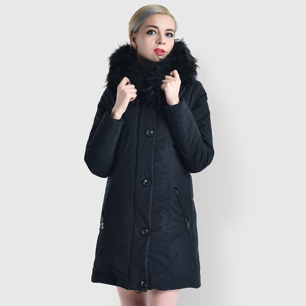 Hooded buttoned full-zip parka coats