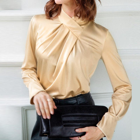 Solid ruched mock neck flare sleeve blouses
