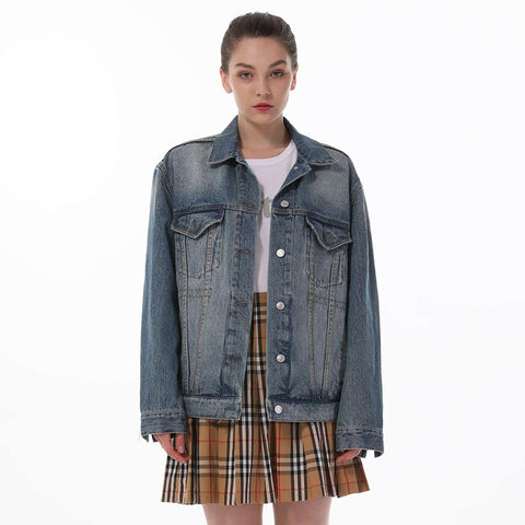 Denim lapel single-breasted jackets - Fancyever