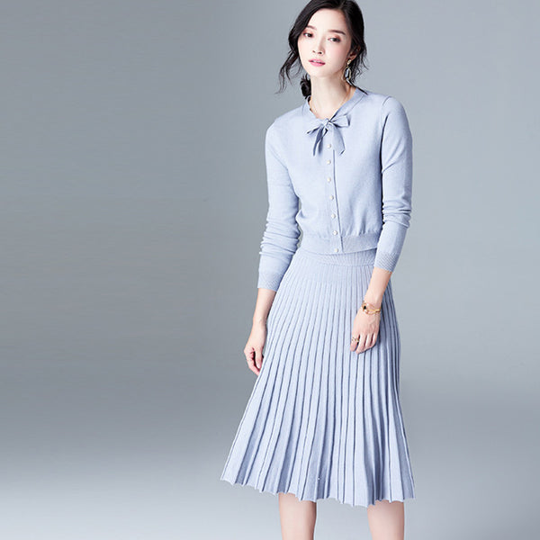 Elegant bowknot knitted two-piece dresses - Fancyever