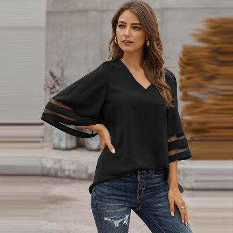 V-neck three quarter sleeve casual blouses