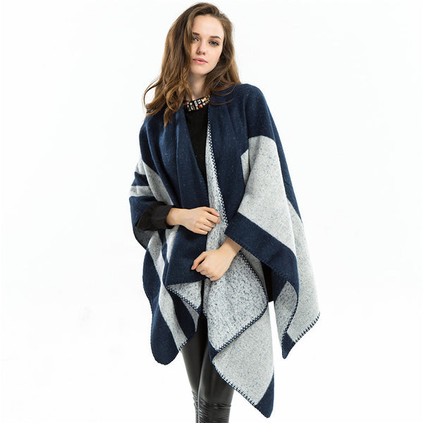 Oversized color-blocked shawls scarves - Fancyever