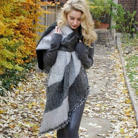 Striped cable knit scarves