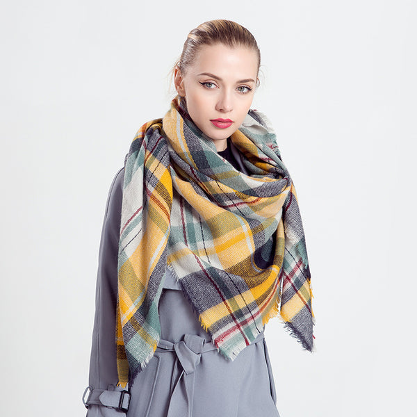 Color-blocked plaid thick shawls scarves