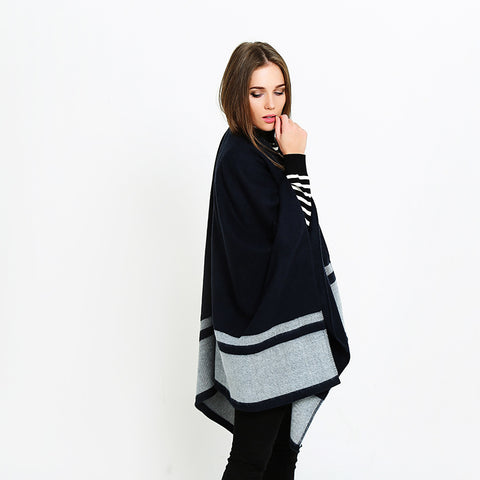 Navy and grey colorblock ponchos - Fancyever