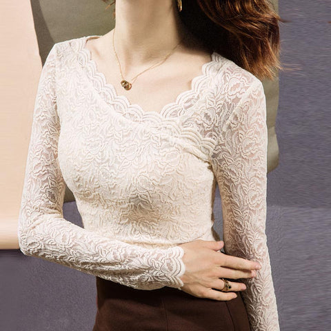 Solid open work lace tight stretchy blouses