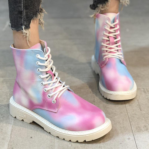Chic colorful PU leather lace-up ankle boots