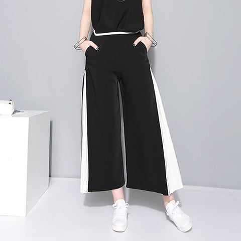 Patchwork pleated wide leg cropped pants