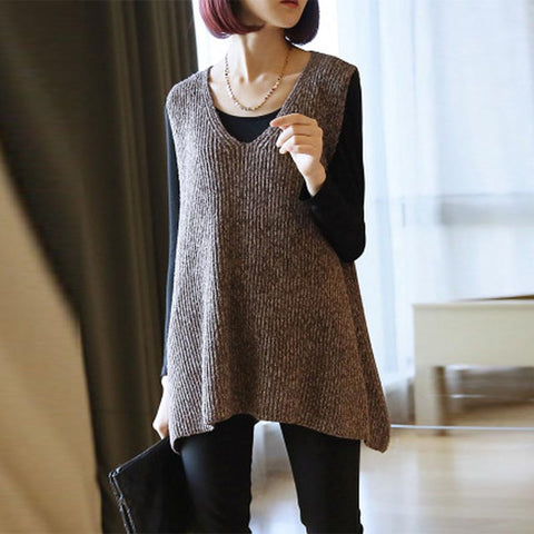 V-neck asymmetric loose knitted vests
