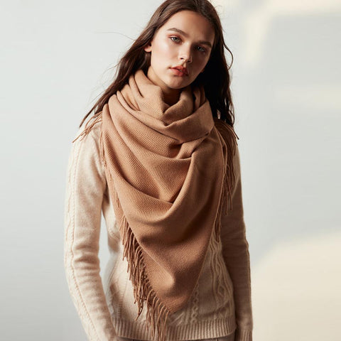 Solid faux cashmere fringed scarves