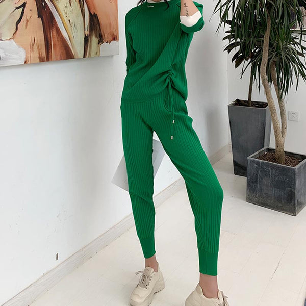 Color block drawstring knitted pant suits