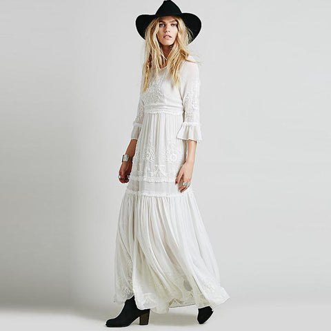 Ruffle bohemia embroidered maxi dresses
