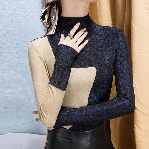 Half-collar color-blocked shiny knit tops