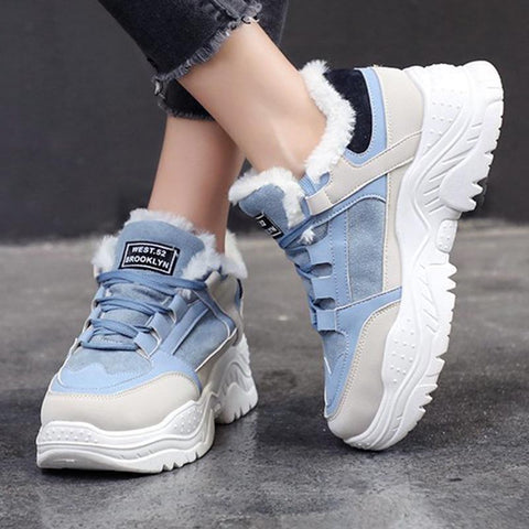 Color-blocked lace-up thick fur sneakers