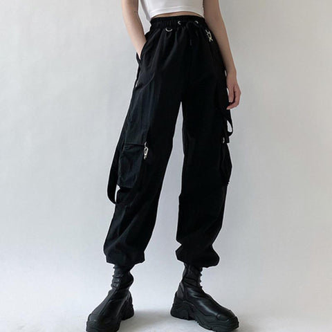 Black high waisted drawstring cargo pants
