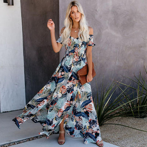 Off the shoulder floral slit beach maxi dresses