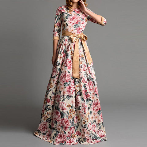 Maxi floral dresses with belt and pockets