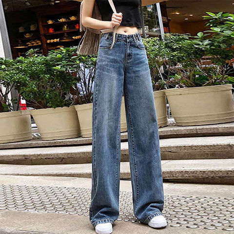 Denim high waisted palazzo pants