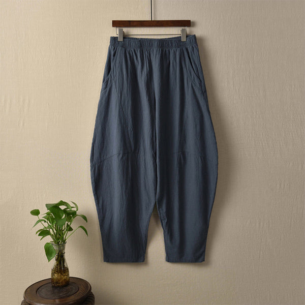 Linen loose tapered pants - Fancyever