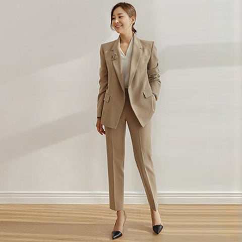 Turn down collar belted pant suits