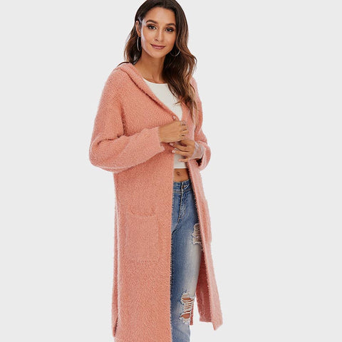 Stylish solid hooded long cardigans
