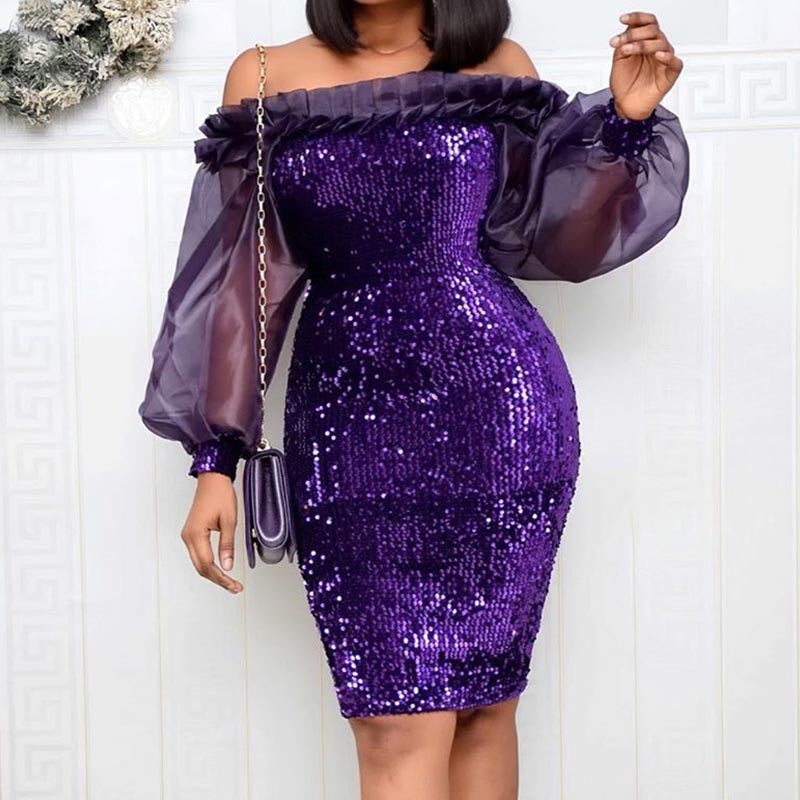 Patchwork sequin shinny mesh sexy bodycon dresses