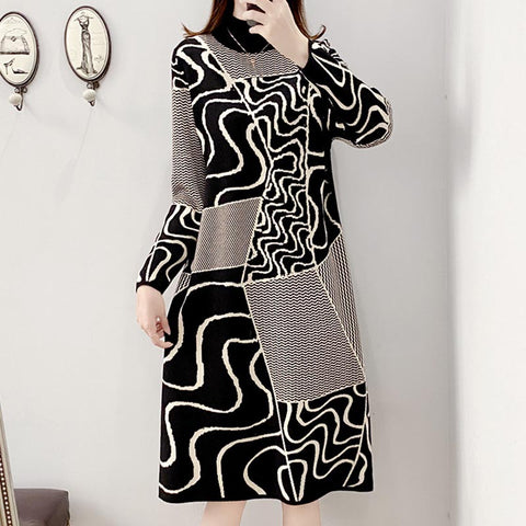 Half-collar geometric jacquard knitted shift dresses
