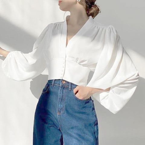 Lantern sleeve v-neck blouses with buttons