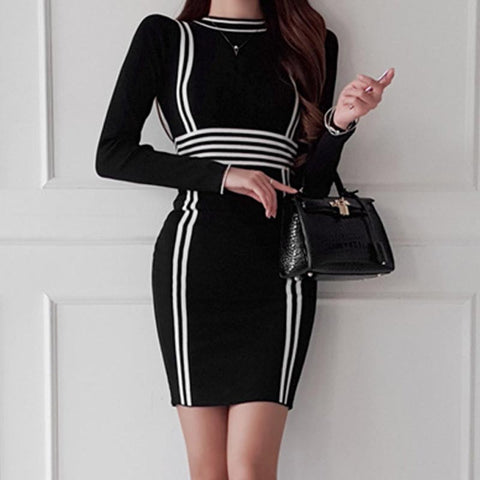 Striped color-blocked knitted bodycon dresses