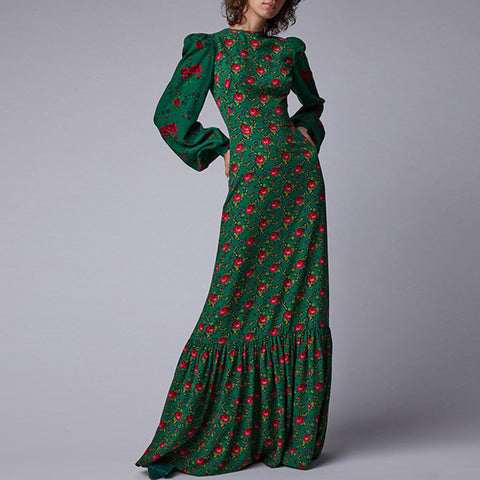 Retro lantern sleeve print gathered waist maxi dresses