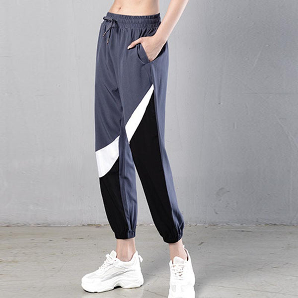 Gym quick dry color block cropped jogger pants