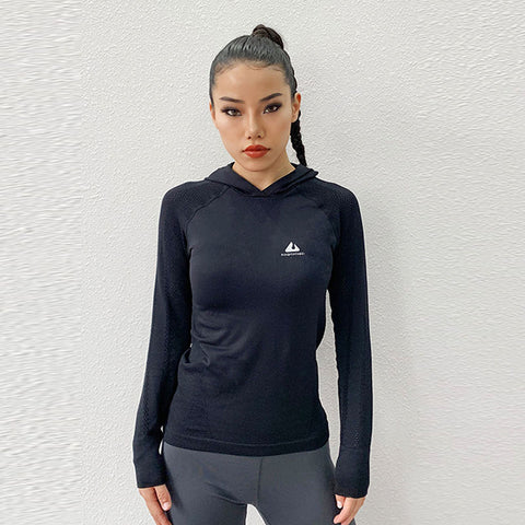 Hooded active tops long sleeve tees with thumbe holes