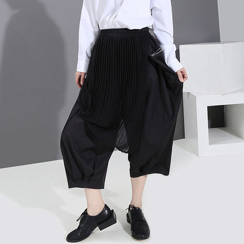 Pleated cover up cropped wide leg pants