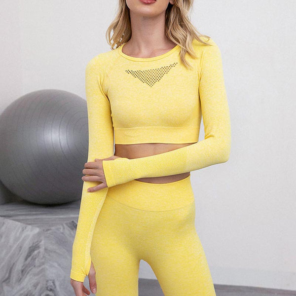 Solid openwork breathable slim yoga tracksuit
