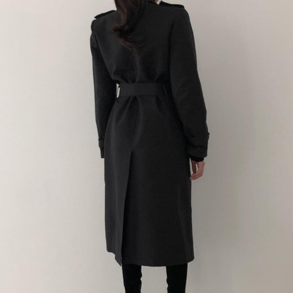 Stylish solid double-breasted vintage trench coats