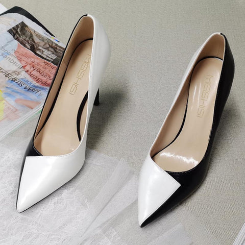 Color block pointed toe heels