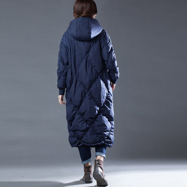 Plus size diamond long puffer down coats