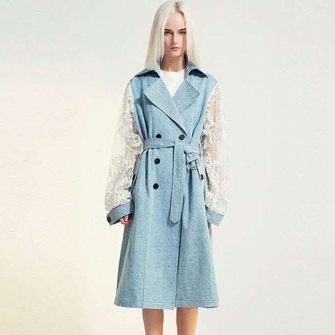 Lace sleeve denim belted trench coats