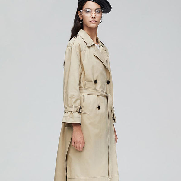 Double-breasted belted trench coats
