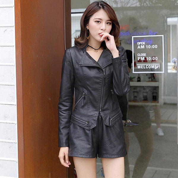 Slim faux leather biker jackets