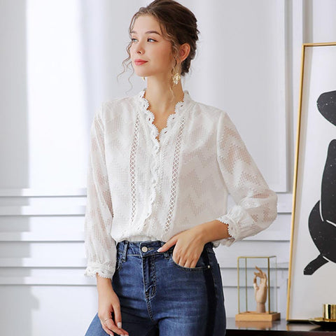 V-neck lace openwork blouses