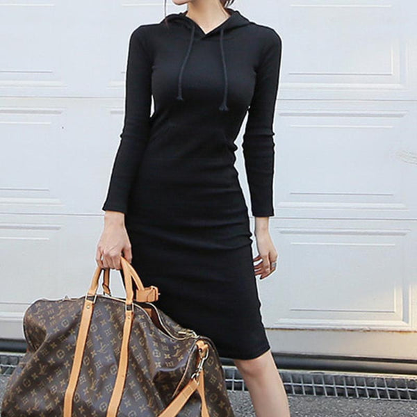 Classical solid hooded knitted bodycon dresses