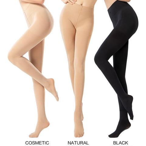High waisted elastic reinforced pantyhoses
