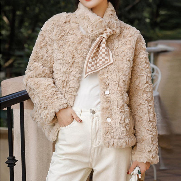 Loose solid thick faux fur coats