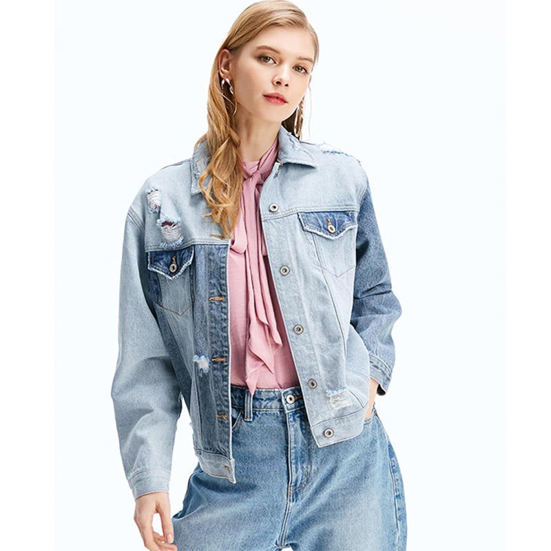 Color-blocked patchwork ripped denim jackets